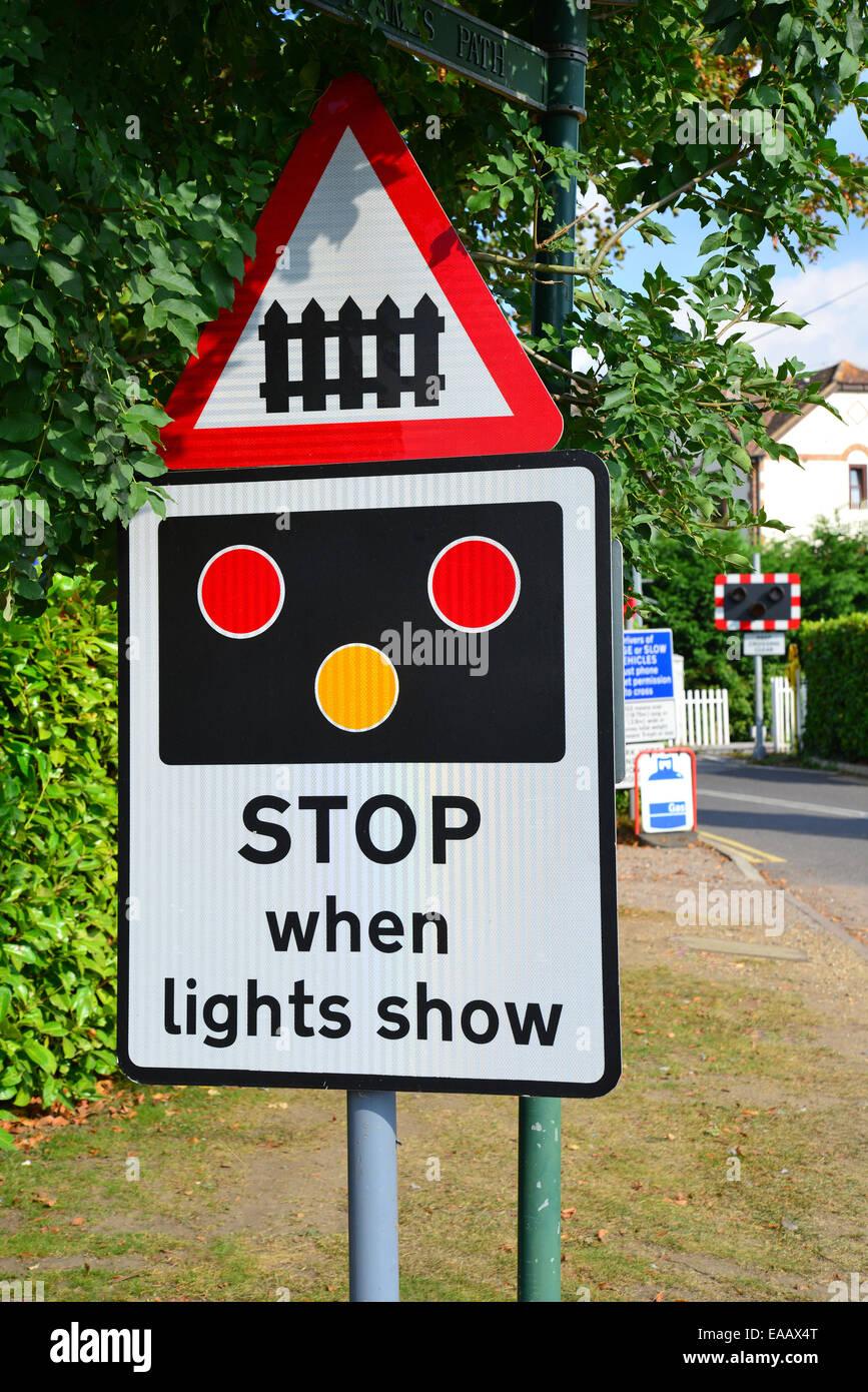 Railway crossing sign, Wharf Lane, Bourne End, Buckinghamshire, England, United Kingdom - Stock Image