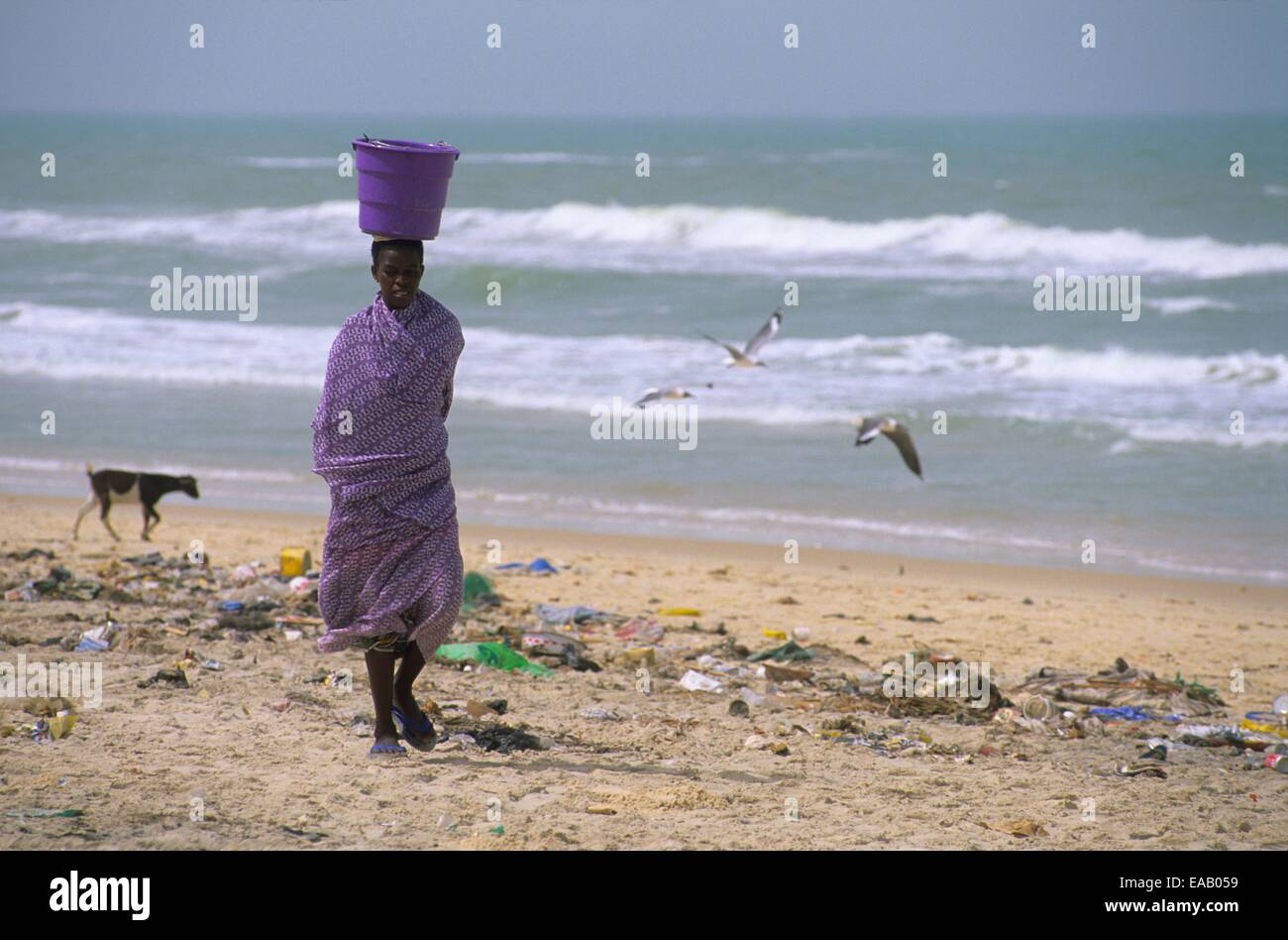 Beach of Langue de Barbarie, Saint Louis, Senegal, West Africa - Stock Image