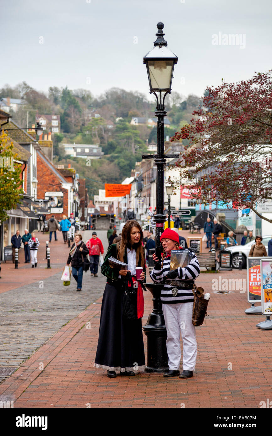 Bonfire Society Members Sell Programmes For The Annual Guy Fawkes Night Celebrations In Lewes, Sussex, England - Stock Image