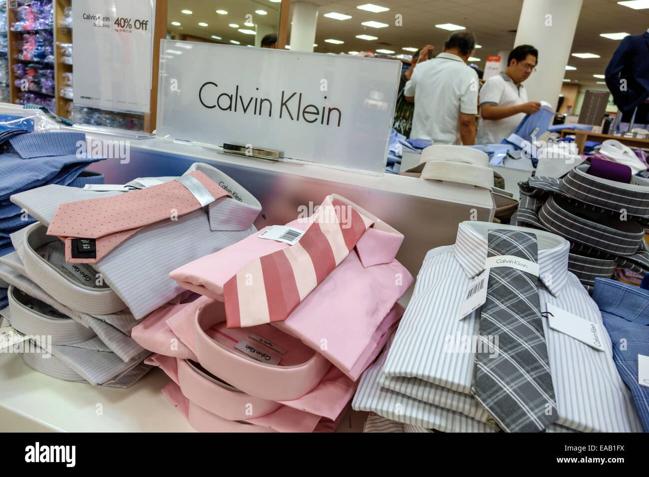 8564d237c16da Miami Florida Macy s department store shopping inside sale display fashion Calvin  Klein dress shirts ties men s