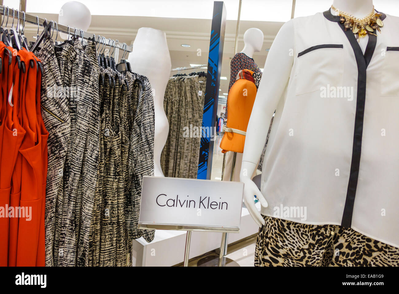 5537e6983c2ea Miami Florida Macy s department store shopping inside sale display fashion Calvin  Klein women s clothing - Stock