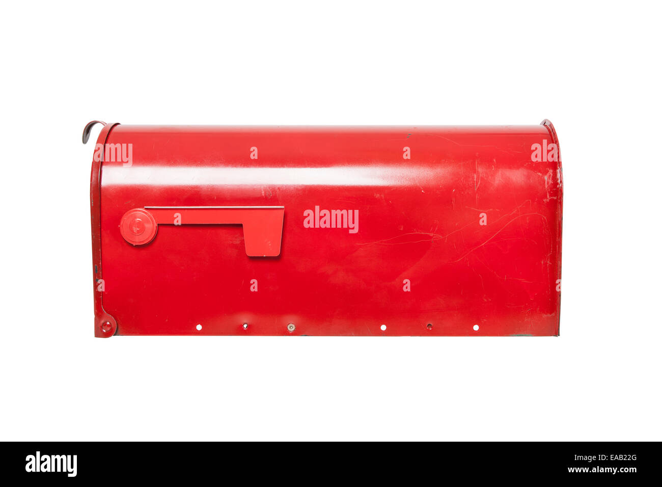 Retro mailbox on white with flag in lowered position - Stock Image