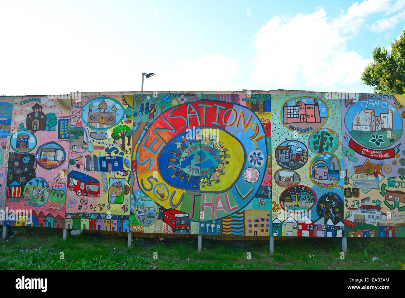 'Sensational Southall' children's mural, King St, Southall, London Borough of Ealing, Greater London, - Stock Image