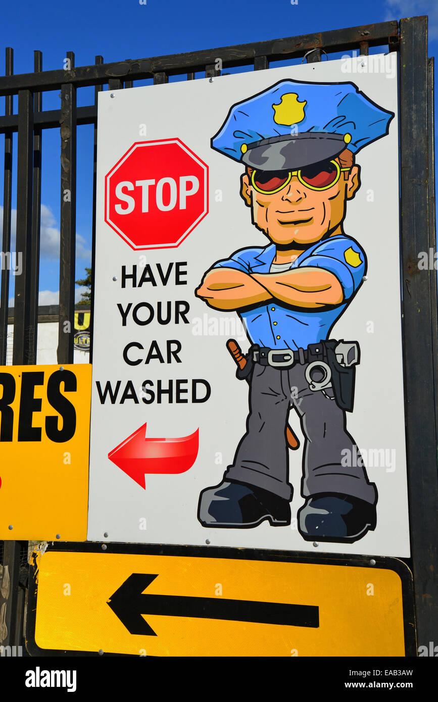 Car wash sign, Western Road, Southall, London Borough of Ealing, Greater London, England, United Kingdom - Stock Image