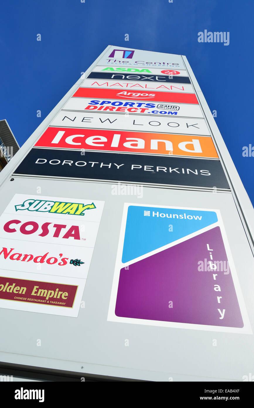 The Centre Feltham Shopping sign, Feltham, London Borough of Hounslow, Greater London, England, United Kingdom - Stock Image