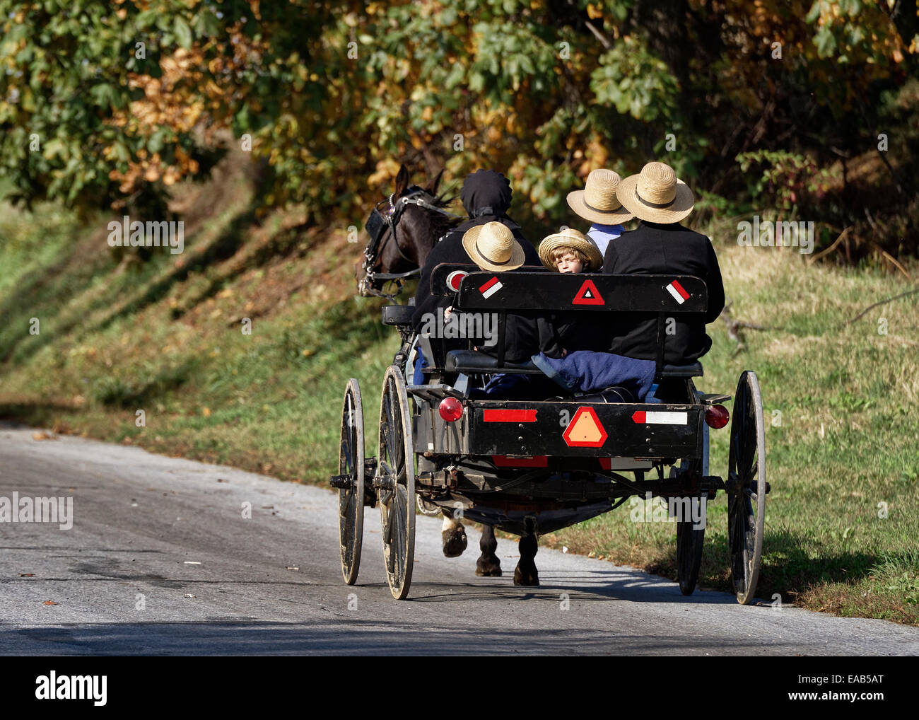 Amish family in horse drawn buggy, Ronks, Lancaster County, Pennsylvania, USA - Stock Image