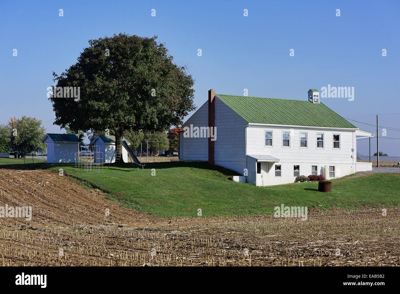 Amish one room school house, Ephrata, Lancaster County, Pennsylvania, USA - Stock Image