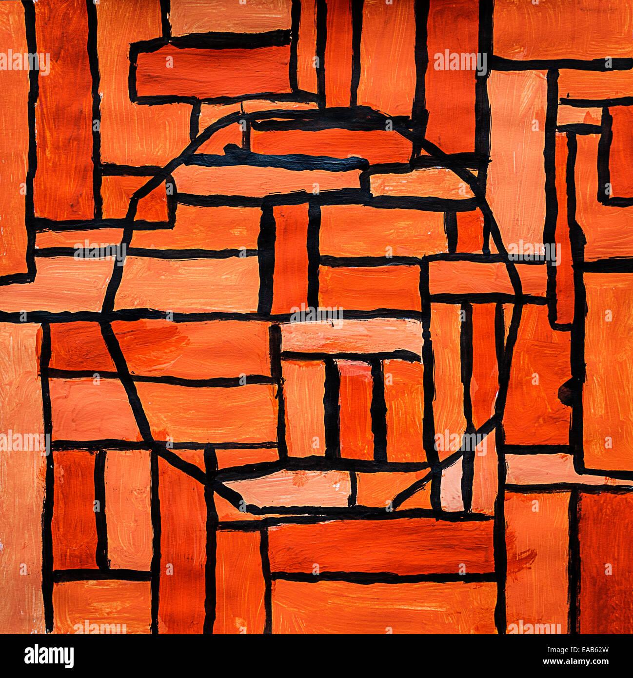Child's art: geometric patterns. - Stock Image