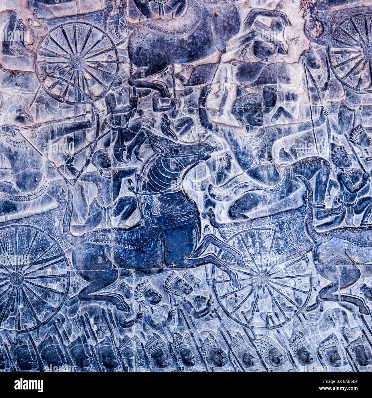 Cambodia, Angkor Wat.  Detail of Bas-relief Showing the Kaurava Army Advancing into the Battle of Kurukshetra. Stock Photo