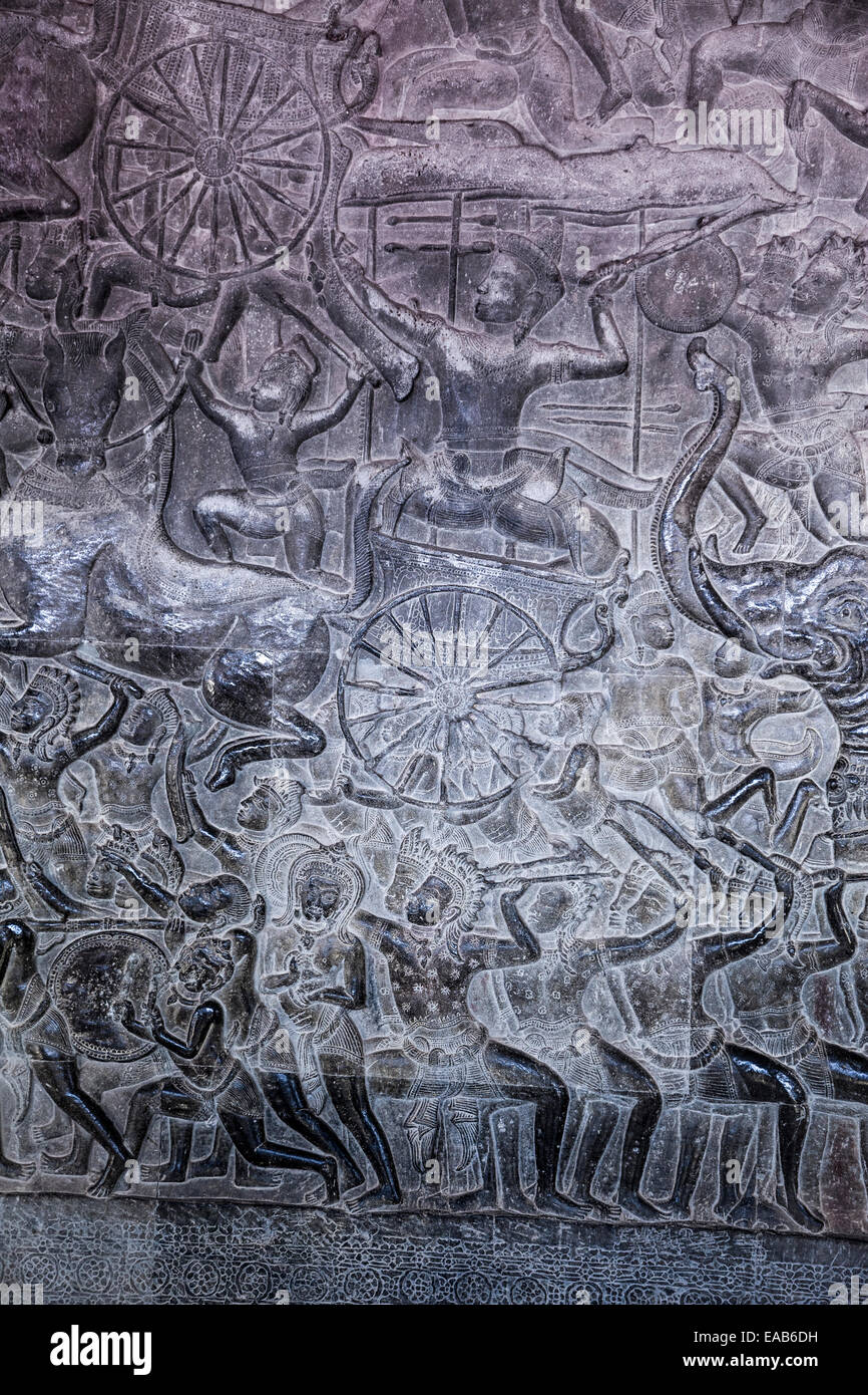 Cambodia, Angkor Wat.  Bas-relief Showing Pandava Warriors Advancing into the Battle of Kurukshetra. Stock Photo