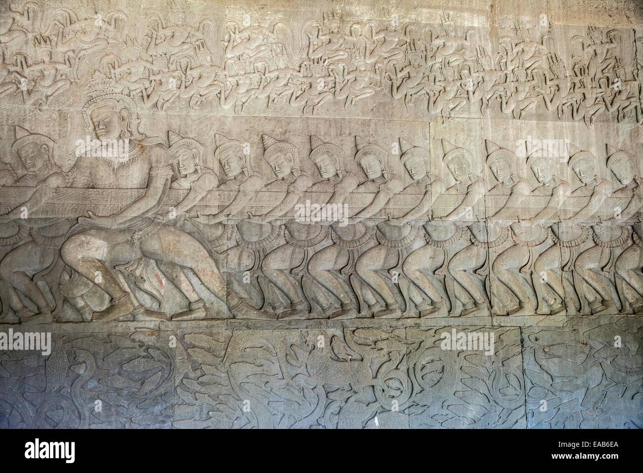 Cambodia, Angkor Wat.  Gods Churning the Sea of Milk, from the Hindu Creation Myth, the Bhagavata-Purana. - Stock Image