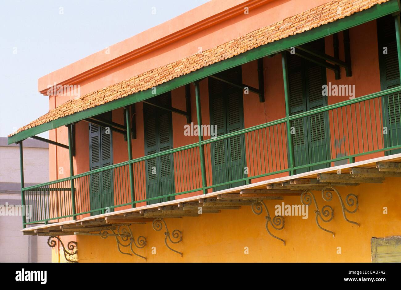 Colonial house facade, Saint Louis ,Senegal Stock Photo