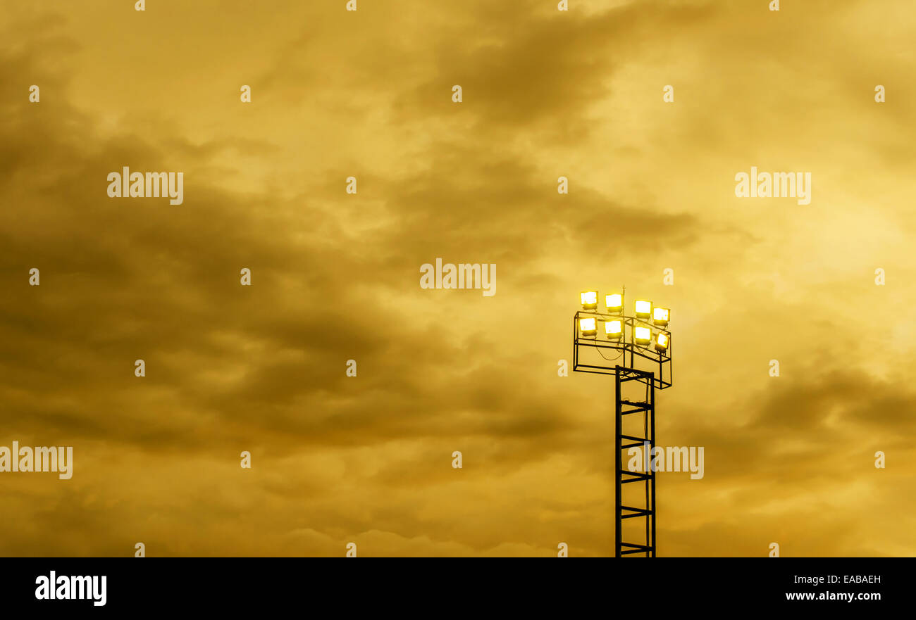 The Spotlight post and Storm Cloudy Sky. - Stock Image