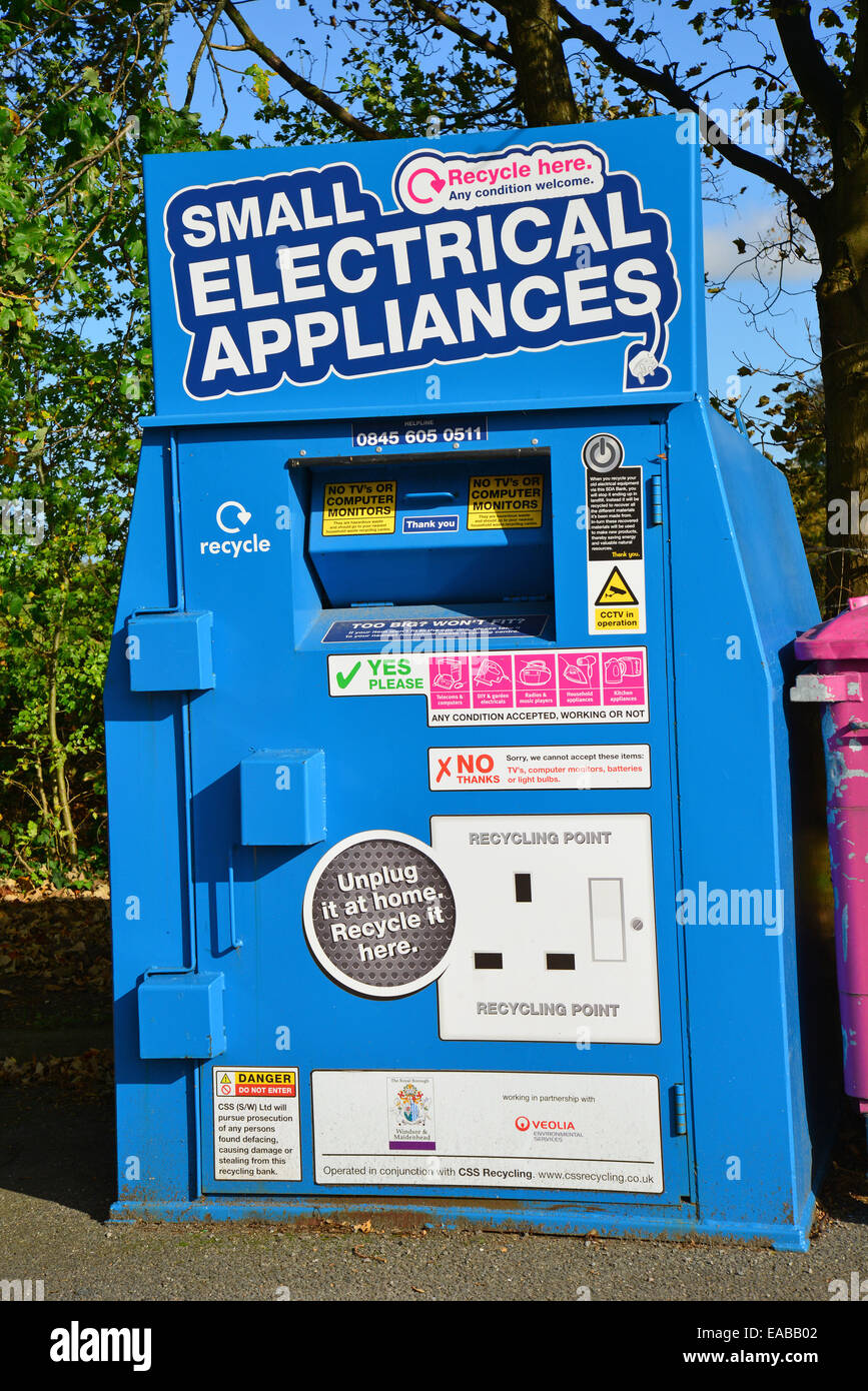 Small electrical appliance recycling bin in car park, Sunningdale, Berkshire, England, United Kingdom - Stock Image