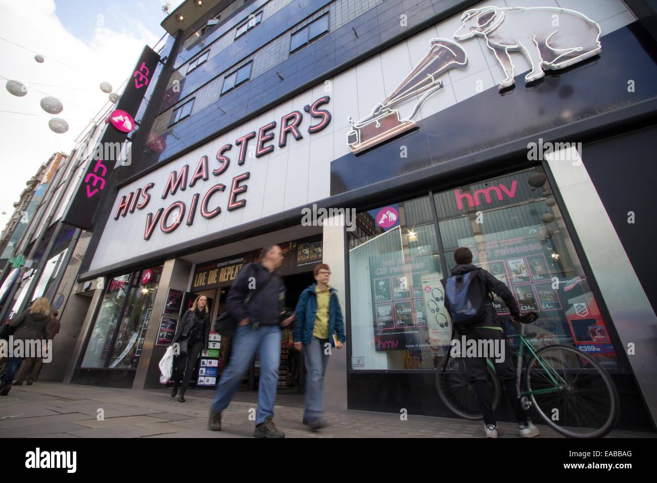 His Masters Voice HMV shop Oxford street, London - Stock Image