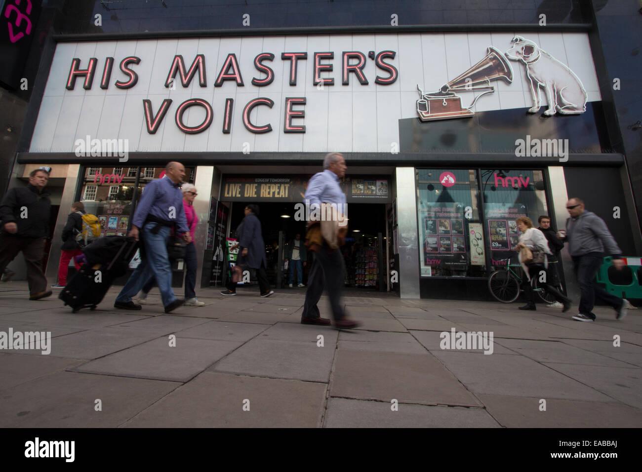 His Masters Voice HMV shop Oxford street - Stock Image