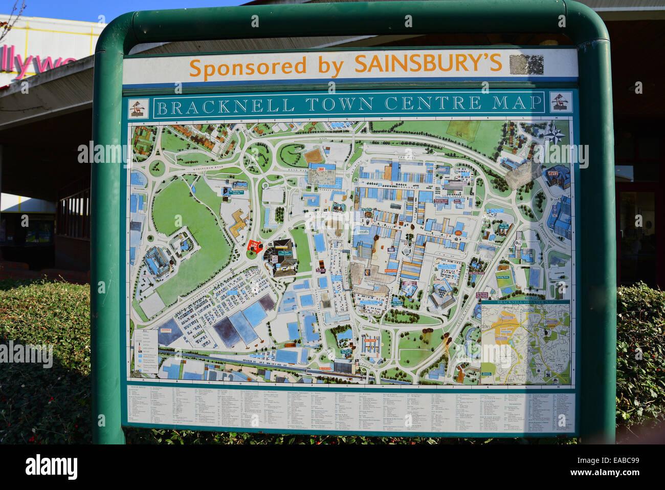 Bracknell town centre map, Skimped Hill Lane, Bracknell, Berkshire, England, United Kingdom - Stock Image
