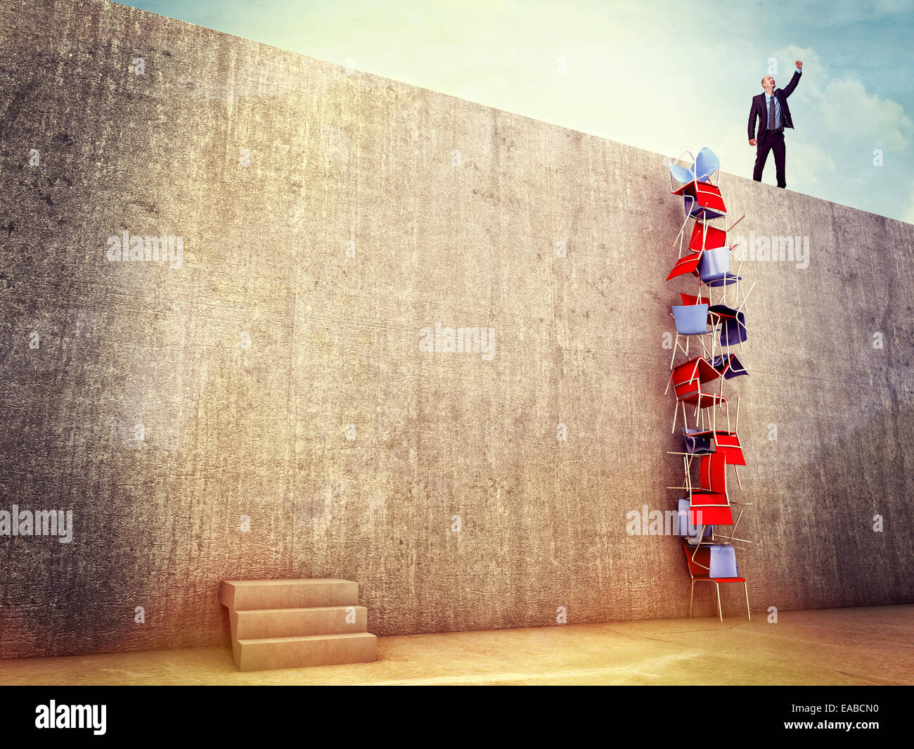 clever man try solution to climb the wall - Stock Image