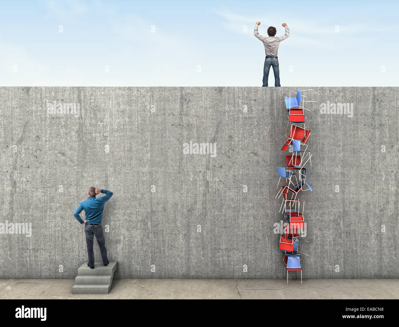 high wall and clever solution 3d image - Stock Image
