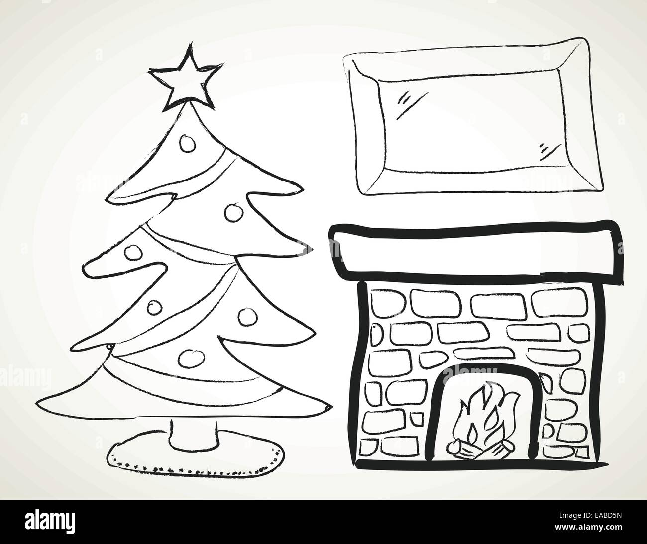 drawing of a Christmas tree next to a fireplace Stock Vector