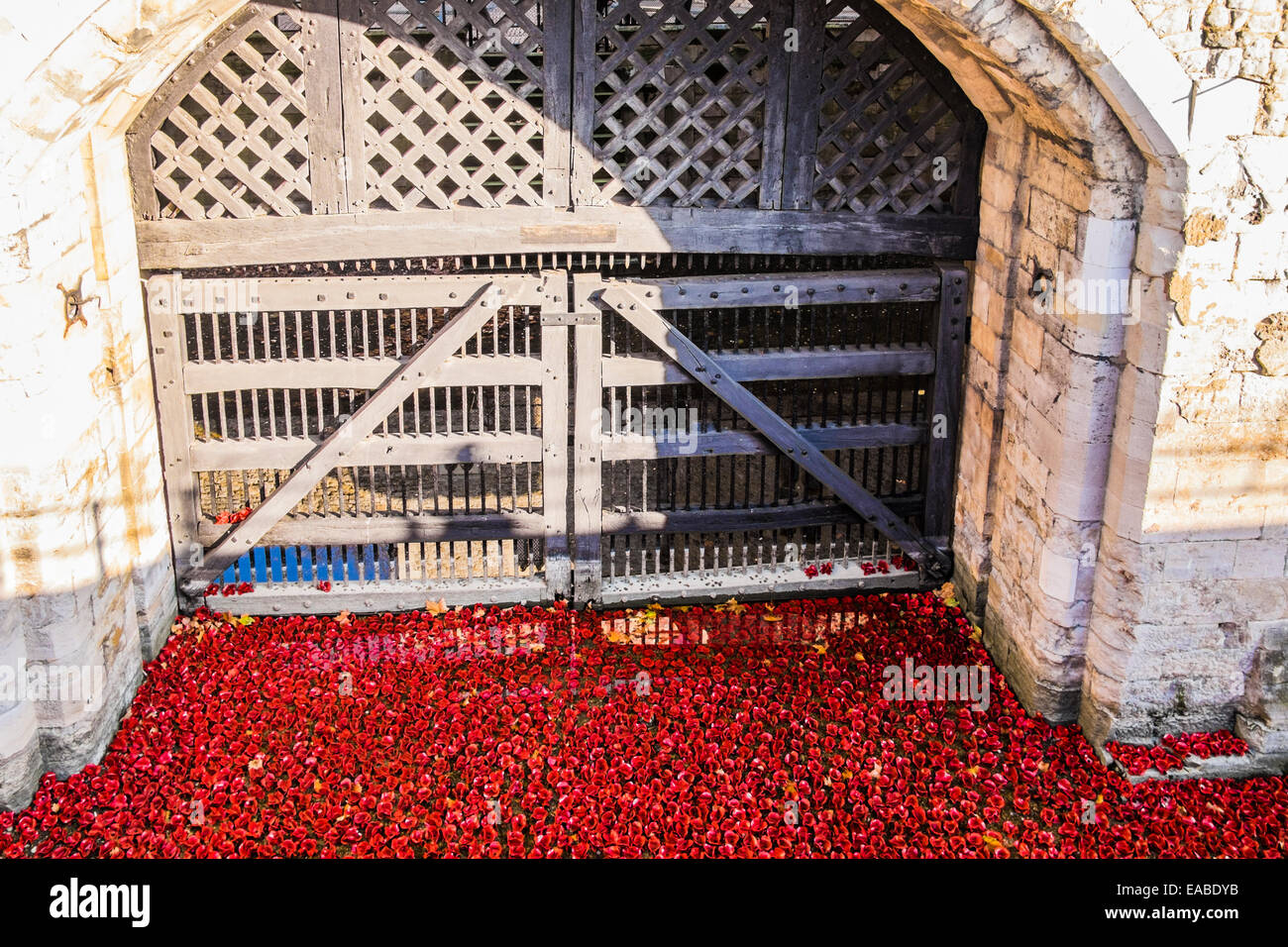 Blood Swept Lands & Seas of Red at the Tower of London - Stock Image