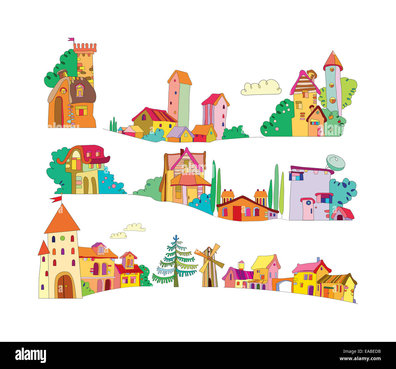 set of colored cartoon houses painted by hand. vector illustration - Stock Image