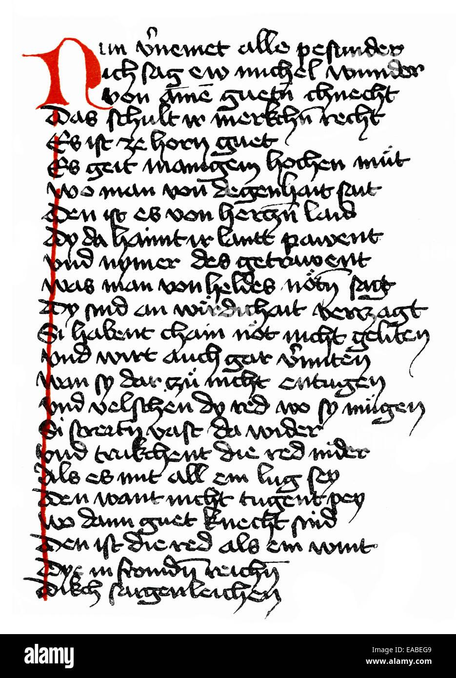 Historical print, manuscript, Duke Ernst, a Middle High German verse novel or minstrel poetry of the High Middle - Stock Image