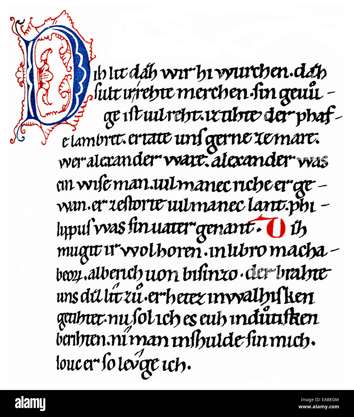 HiHistoric print, manuscript, the German Alexanderlied, an epic poem by Pfaffe Lamprecht, ca. 1150, 12th Century, - Stock Image