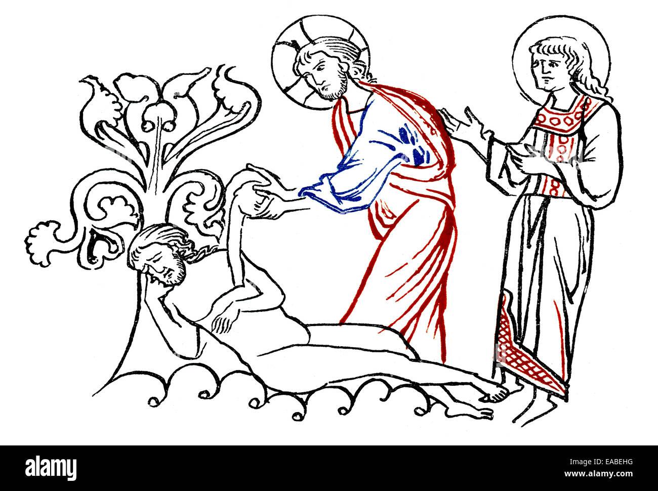 Historic print, The Creation of Eve, Millstaett Manuscript, an illustrated manuscript written in southern Bavarian - Stock Image