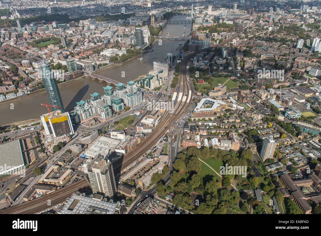 An aerial view from Nine Elms in London looking over Vauxhall Bridge towards the Houses of Parliament - Stock Image