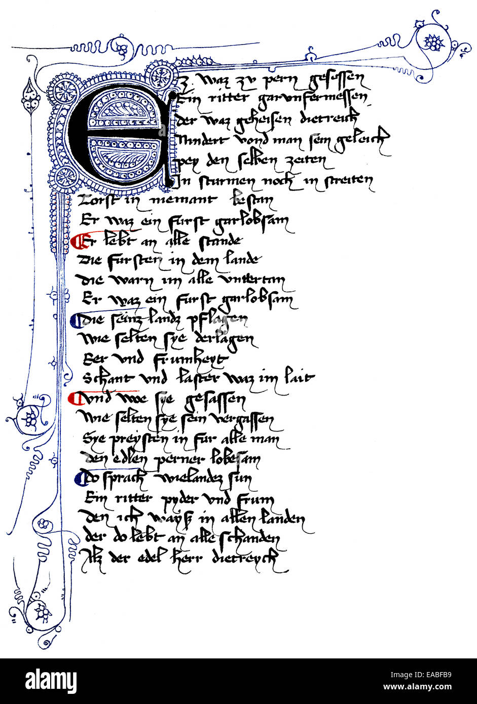 Historic  manuscript, Laurin Book of Heroes, 14th century, Handschrift, Laurin Heldenbuch, 14. Jahrhundert, - Stock Image