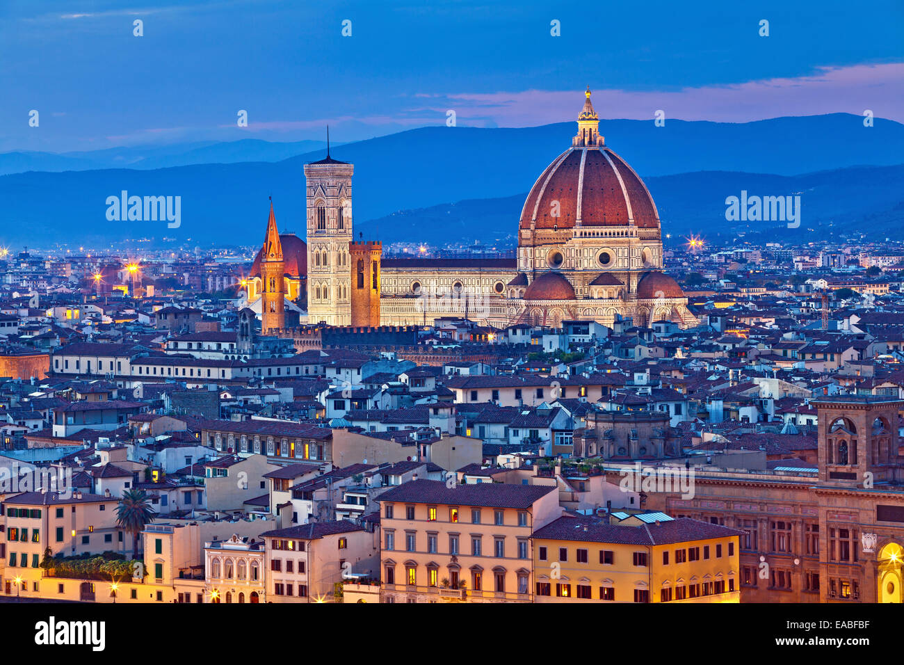 Florence. Image of Florence, Italy during twilight blue hour. - Stock Image