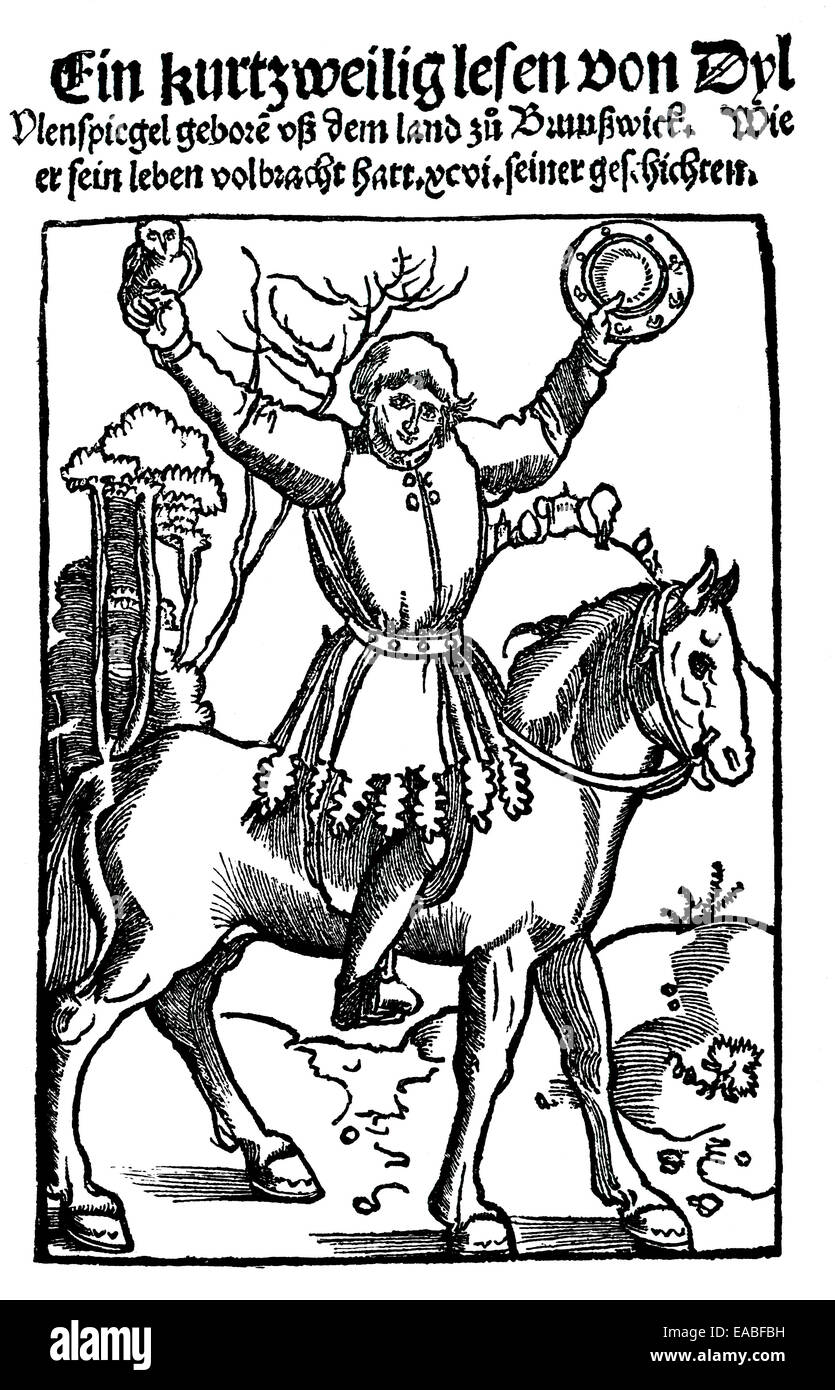 Historic title page of the oldest remaining version of the Middle Low German folks book Eulenspiegel from 1511, - Stock Image