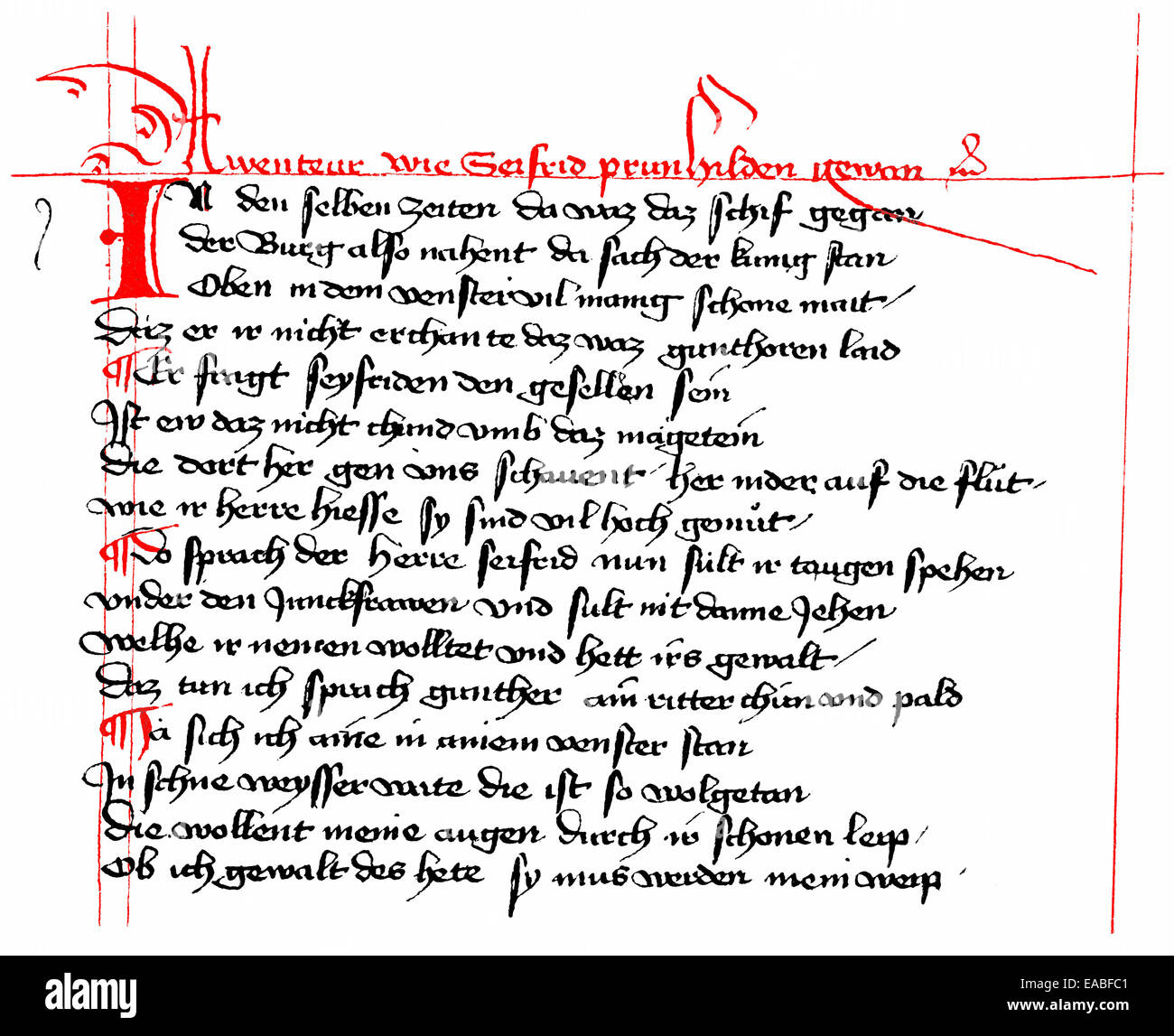 Historic manuscript, The Song of the Nibelungs, Nibelungenlied, version of the epic poem in Hundeshagenschen Kodex, - Stock Image