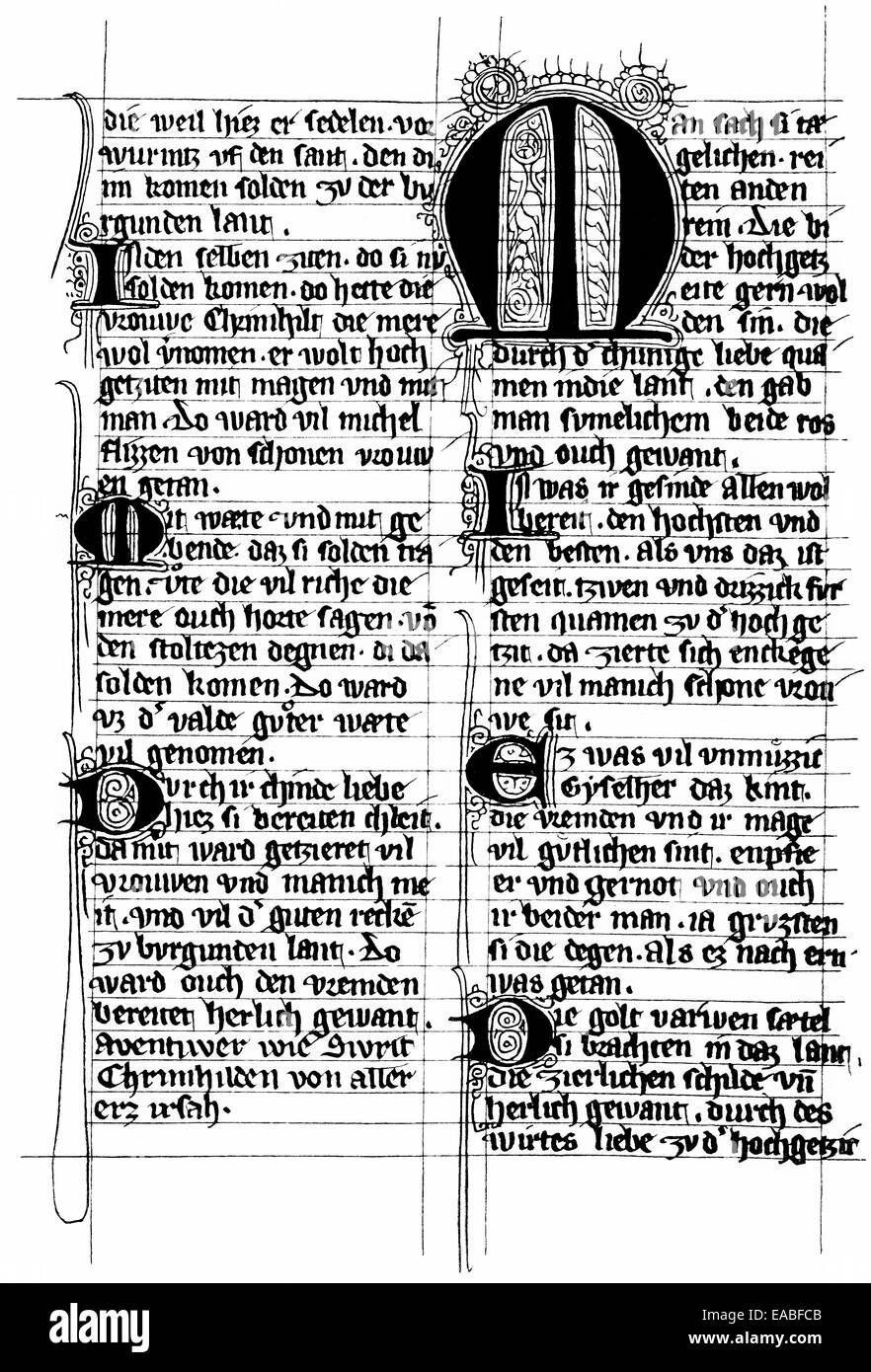 Pruenn-Munich Manuscript, Nibelungenlied, The Song of the Nibelungs, a version of the Middle Age epic poem, 13th - Stock Image