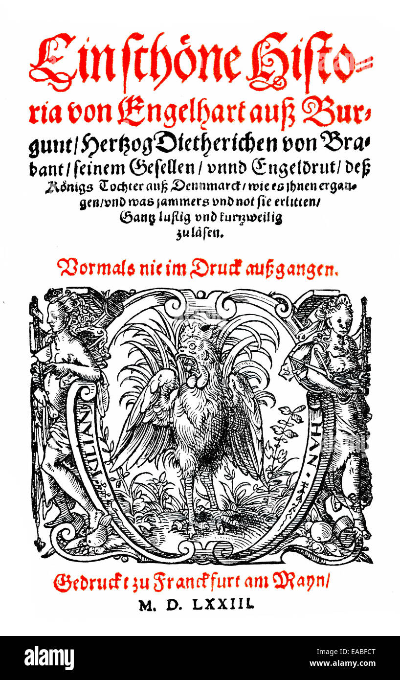 Historic title page of Engelhard, Konrad von Wuerzburg or Master Conrad, 1220-1230 - 1287, German poet, epic and - Stock Image