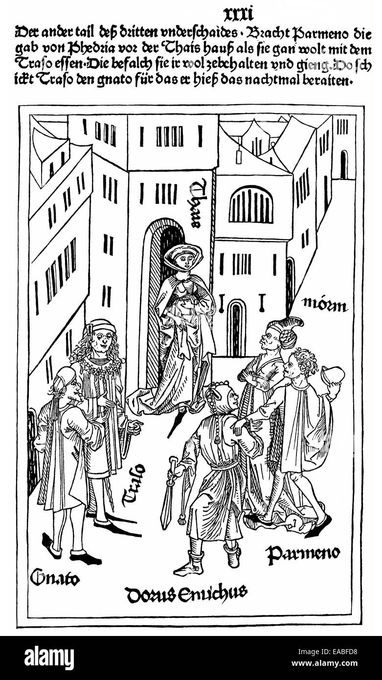 Historic book illustration from the early days of printing, woodcut from the Ulm Master Terenz, 1486, a late-medieval - Stock Image
