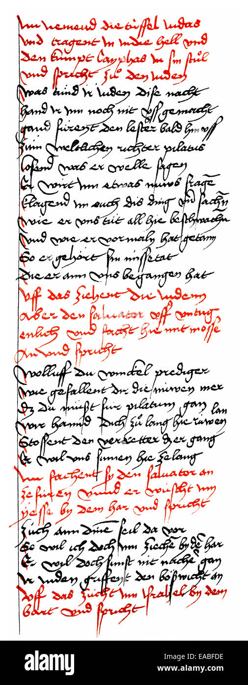 Historic print, manuscript, Danubian Passion Play, 15th Century, Historische Handschrift, Donaueschinger Passionsspiel, Stock Photo