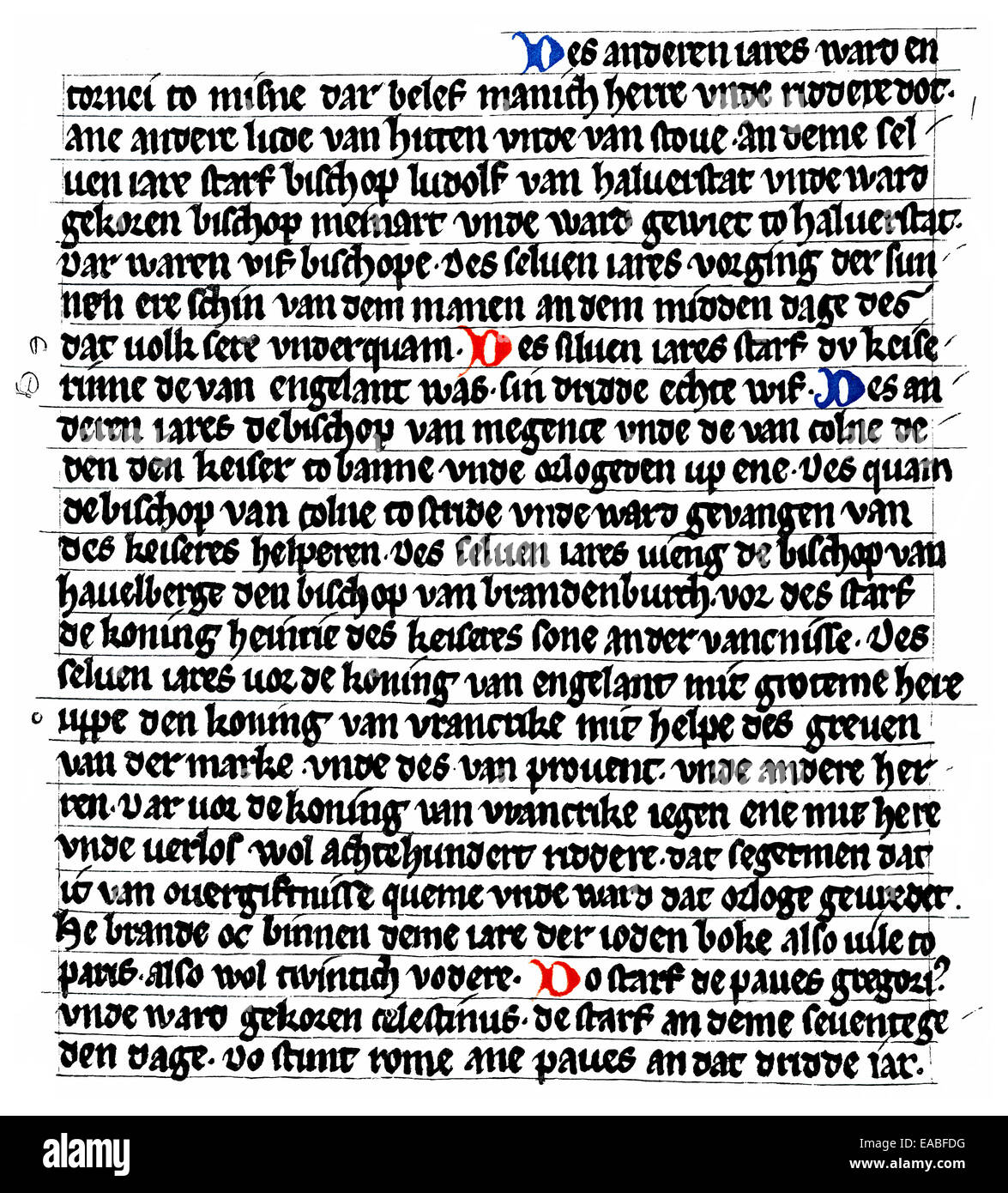Historic manuscript, Saxon Chronicle of the World, first German-language chronicle in prose, written in Middle High - Stock Image