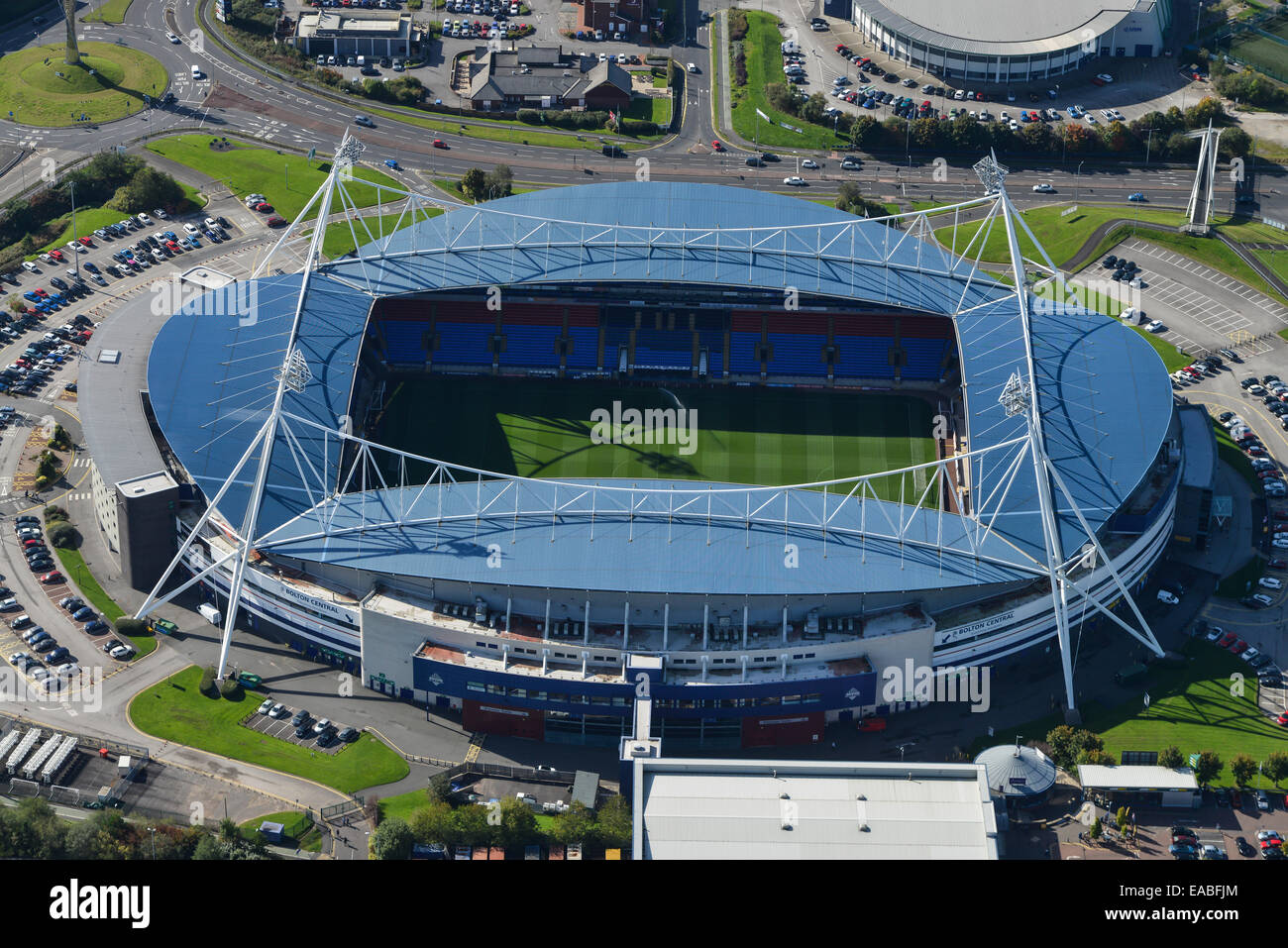 An aerial view of the Macron Stadium, home of Bolton Wanderers football club - Stock Image