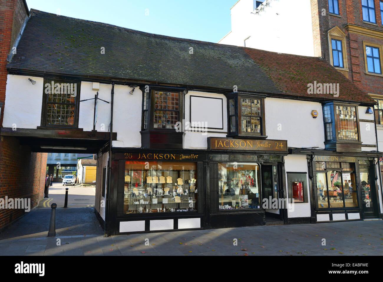 15th century openhall building (Jackson Jewellers), High Street, Watford, Hertfordshire, England, United Kingdom - Stock Image