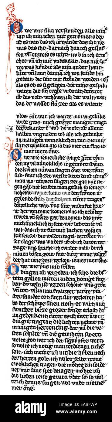 Historic print, manuscript, Middle High German text: 'Owe war sint verswunden', stanzas by Walther von der - Stock Image