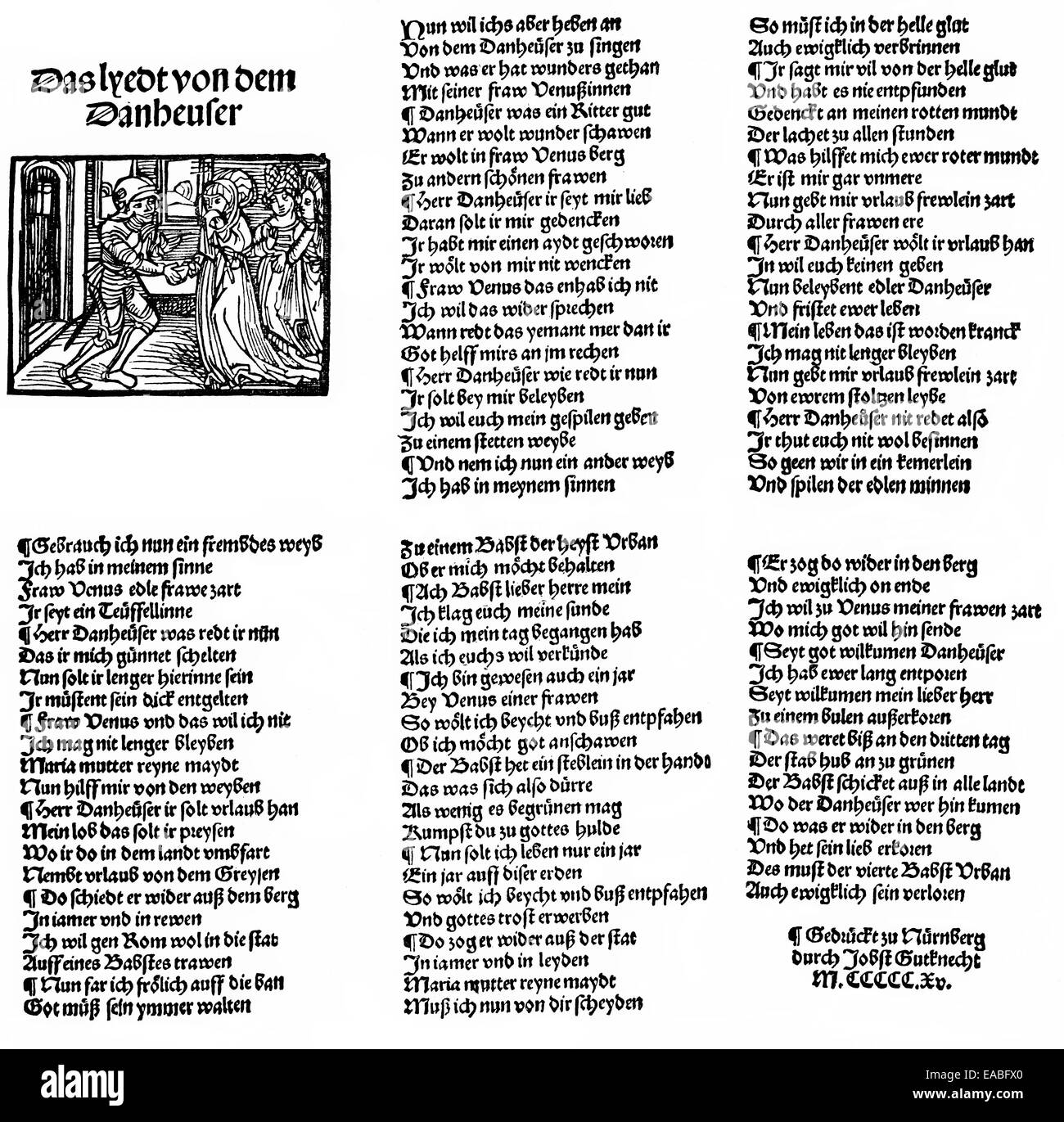 Historic print, historical engraving, woodcut from 1515, cover and five pages of Tannhauser, folk ballad or folk - Stock Image