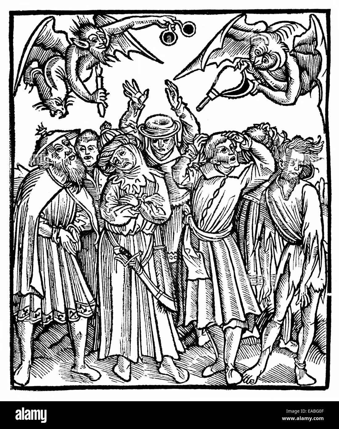 Front page of 'Lamentationes obscurorum virorum', monks and clerics, historic print, 1518 by Hardwin von - Stock Image