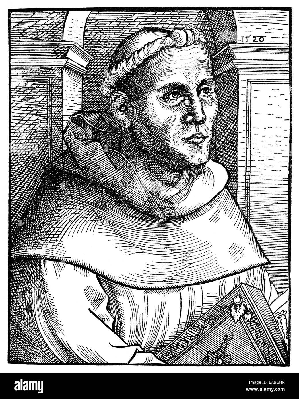 Martin Luther, 1483 - 1546, theologian and reformer, Portrait von Martin Luther, 1483 - 1546, ein deutscher Theologe - Stock Image