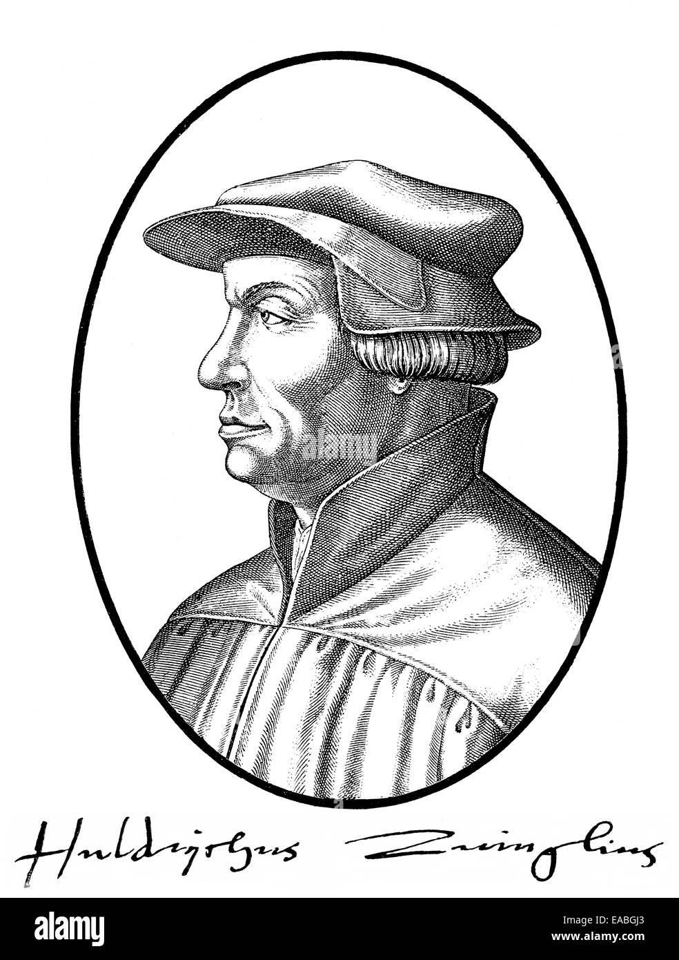 Ulrich Zwingli, 1484 - 1531, a Swiss theologian and reformer of Zurich, Portrait von Ulrich Zwingli, 1484 -1531, - Stock Image
