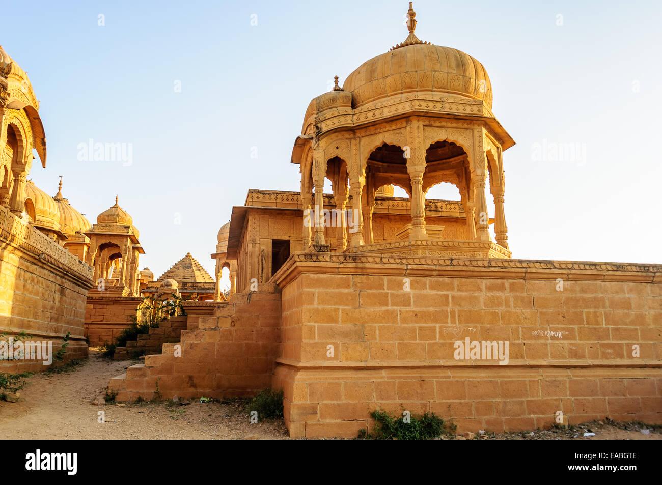 Cenotaphs of Bada Bagh, King's memorials, Jaisalmer, Rajasthan - Stock Image