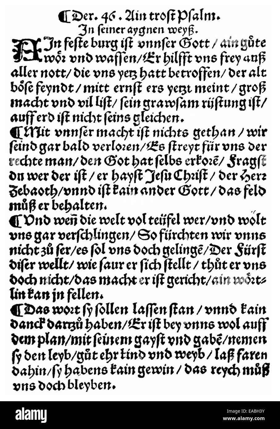 1529, reformation document written by Martin Luther, 1483 - 1546, Holzschnitt von 1529, Reformationsschrift von - Stock Image