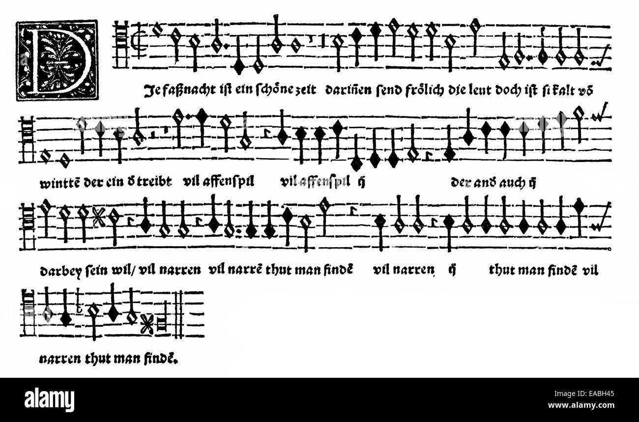 sheet music, carnival song by Orlandus Lassus or Orlando di Lasso or Orlande or Roland de Lassus, 1532-1594, composer - Stock Image