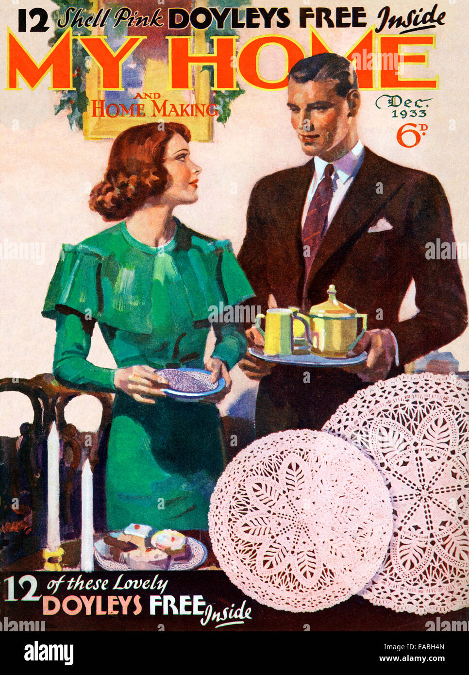 My Home, Tea Time, 1933 cover of the English home and lifestyle magazine for the new suburban middle class, teatime - Stock Image